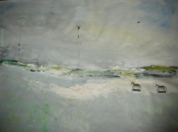 Idyll, Acryl und Zinn auf Leinwand, 115×90