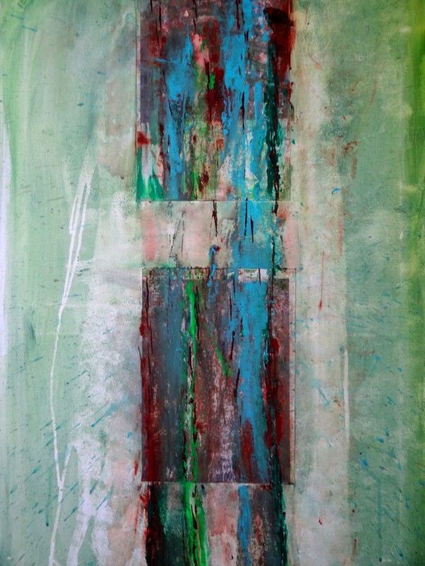 Verlauf (verkauft), Acryl und Fotos auf Leinwand, 100×60