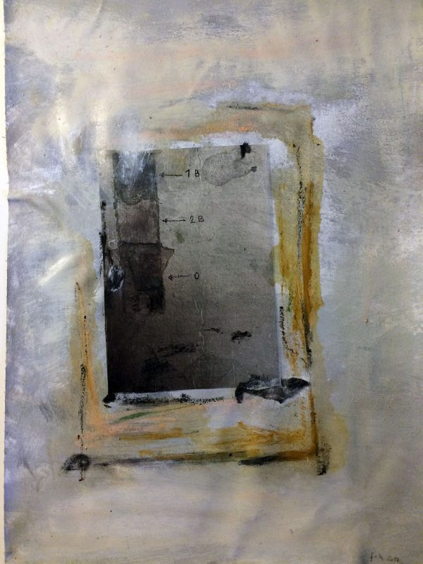 Rekonstruktion 1, Acryl, Folie auf Leinwand, 70/50
