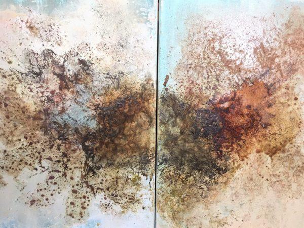 Blütenstaubfragmente, Diptychon, Öl, Pigment auf Leinwand, 60/100