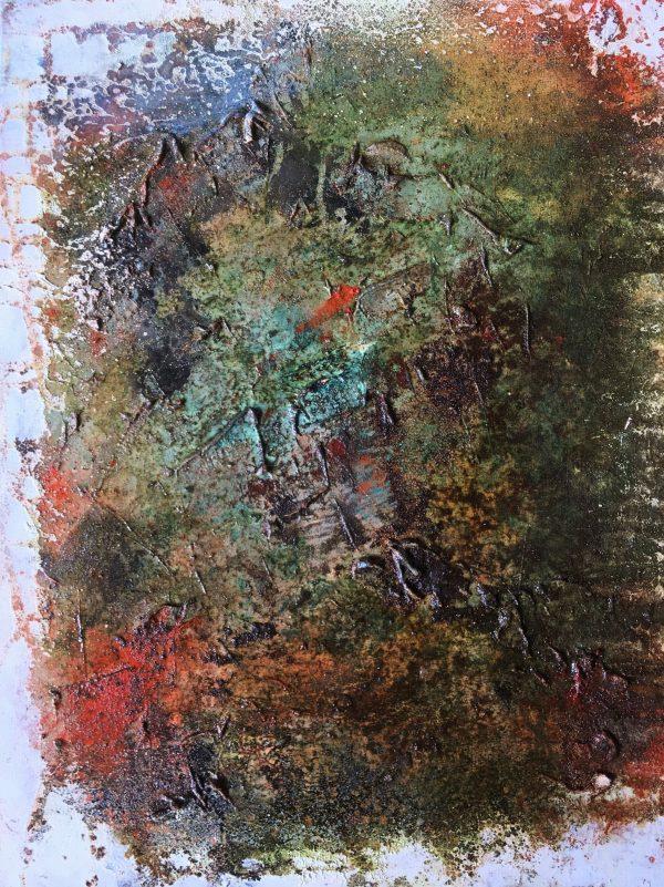 Redflagged, Öl, Eisenspäne auf Leinwand, 50-40