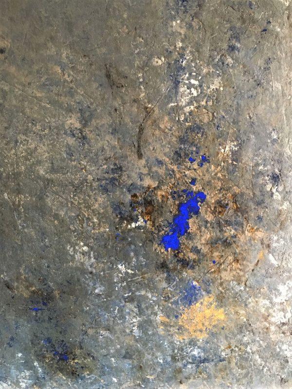 Ein Löffel Blau, Öl, Pigment, Lack auf Leinwand, kaschiert auf Kappaplatte, 90-70