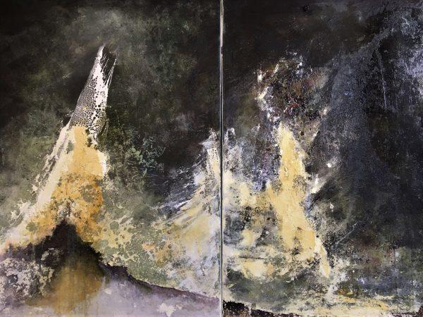 Die Gipfel der Zeit, Diptychon, Öl, Lack, Tusche auf Leinwand 120-180